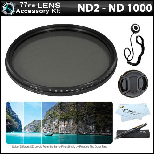 77Mm Ndx Variable Range Neutral Density Fader Filter Kit (Adjustable From Nd2-Nd1000) + More For Nikon Df, D7100 D7000 D5200 D5100 D3200 D5300 D3300 D3100, D800, D700 D600 D610 D300S D90, Canon Eos 5D Mark Iii, Eos-1D X, 6D, 7D 60D 70D T5I T4I Sl1 T3I T3