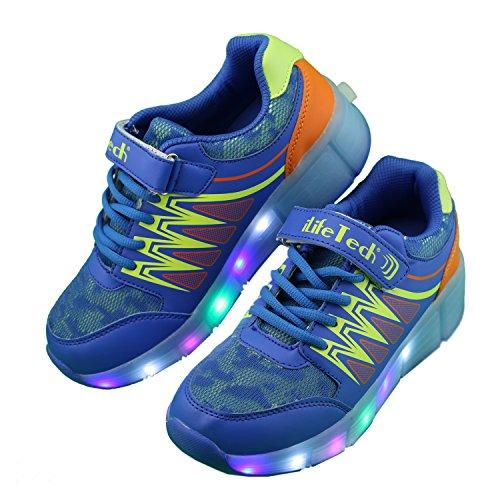 iLifetechA40 - Led Heelys ricaricabili da ragazza' Unisex per bambini Ragazzi , blu (Blue), 39 EU