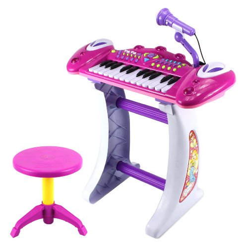 Superstar Princess Children'S Musical Instrument Toy Keyboard Play Set, 24 Key Piano W/ Microphone, Stool, Records And Playbacks Music (Purple)