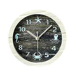 4.7 Nice Ocean Retro Distressed Wood Desktop Clock Vintage Creative Silent Non-ticking Quartz 3D Desk Clock Home Decor Bedroom Living Room Bell Clock Art Gift