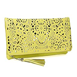 BMC Womens Pale Yellow Perforated Cut Out Pattern Gold Accent Background Foldover Pouch Fashion Clutch Handbag