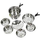8pcs Stainless Steel Camping Nesting Cookware Set.Pot Pan Bowls Plates Steamer Insert Set