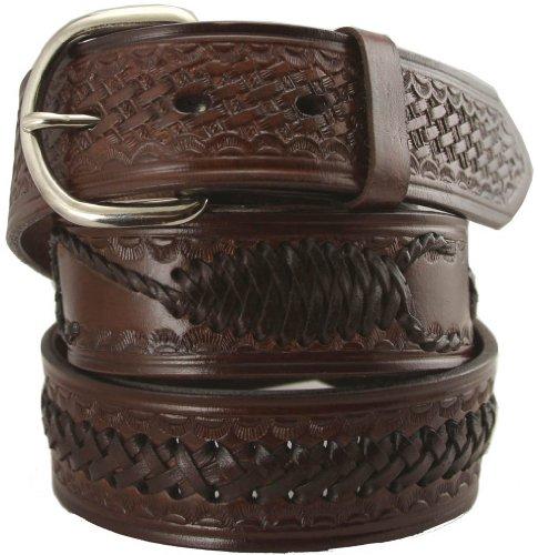"Western Scorpion X Hand Woven Genuine Leather Belt 1-1/2"" Wide (38, Brown)"