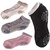 EUBEST 4 Pair Silicone Dot Cotton Non Slip Winter Yoga Socks for Women