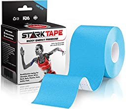 StarkTape Kinesiology Tape for Athletes. Best Knee Taping, Therapeutic Tape for Shoulder Wrist Muscle Sport Injuries. Sticky Waterproof Latex Free Adhesive. Uncut 2 In x16.4 Foot Roll Blue