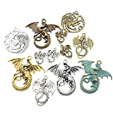 100g (20pcs) Craft Supplies Mixed Flying Dragon Charms Pendants Beads Charms Pendants for Crafting, Jewelry Findings Making Accessory For DIY Necklace Bracelet M15 (Dragon charms) (Color: Dragon charms)