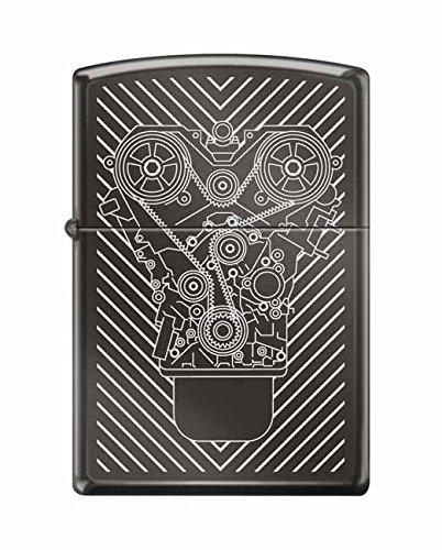 Zippo Lighter: Engraved Motor - Black Ice