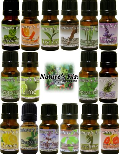 Nature'S Kiss 10 Ml 16 Essential Oil Sample Pack Aromatherapy Starter Sampler Kit Therapeutic Grade