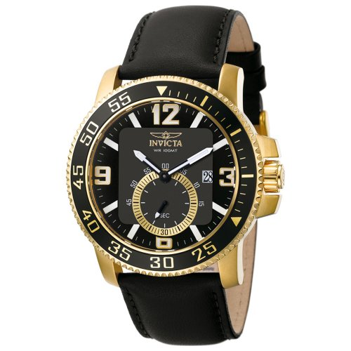 Invicta Men's II Collection Gold-Tone Case with Black Leather Strap Watch #5529