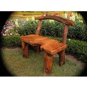 Natural tree trunk wood bench garden for Tree trunk garden bench
