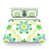 """Kess InHouse Anneline Sophia """"Let's Dance Green"""" Teal Floral King Cotton Duvet Cover, 104 by 88-Inch"""