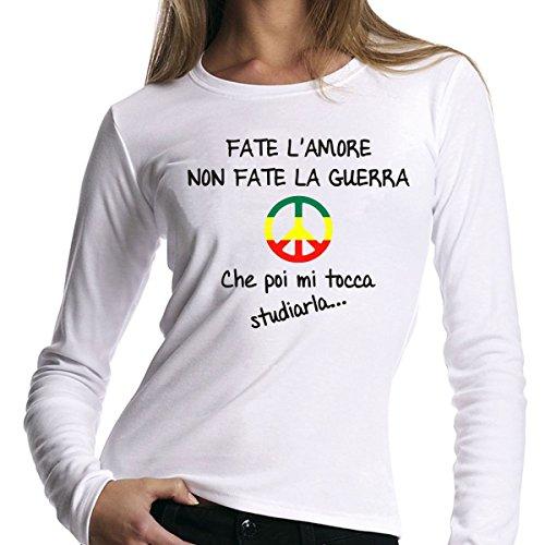 t-shirt manica lunga bianca Fate l'amore non fate la guerra - simbolo della pace -- S M L XL XXL uomo donna bambino maglietta by tshirteria
