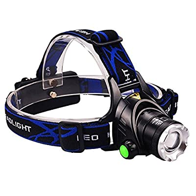 Mifine Waterproof LED Headlamp with Zoomable 3 modes 1000 Lumens light, hands-free headlight with Rechargeable batteries for biking camping hunting running rainy weather
