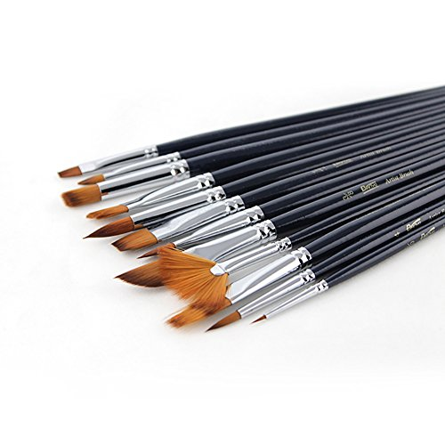 heartybay 12pcs Nylon Hair Paint Brush Set Artist Watercolor Acrylic Oil Painting Brush