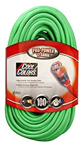 coleman cable 100 foot 12 3 neon outdoor extension cord bright green home kitchen. Black Bedroom Furniture Sets. Home Design Ideas