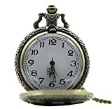 REATR Alloy Pocket Watch Vintage Quartz Watch with Gift Chain for Mens