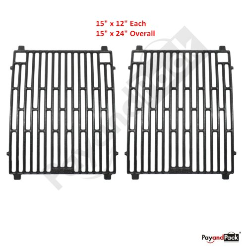 61702 (2-Pack) Gas Grill Replacement Parts Cast Iron Cooking Grid Grate For Arkla, Charbroil, Kenmore Sears, Jacuzzi, Coleman, Broil King, Sterling Shepherd, Sunbeam, Grill Master, Charmglow Model Grills