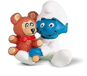 Schleich - 20205 - Figurine - Schtroumpf Bébé avec ourson