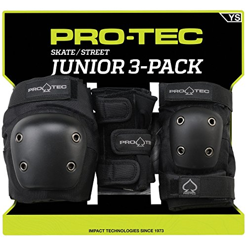 PROTEC Original Junior Street Gear Knee, Elbow and Wrist Pad Combo, Black, Small