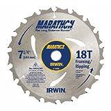 IRWIN Tools MARATHON Carbide Corded Circular Saw Blade, 7 1/4-inch, 18T (14028) (Tamaño: 7-1/4