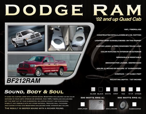 Bassforms Bf212Ram 2002 And Up Dodge Ram Quad Cab 2-Inch - 12-Inch Inch Sealed Round Or Square Fiberglass Enclosure