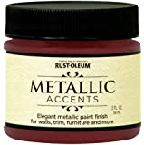 Rust-Oleum Metallic Accents 255341 Decorative 2-Ounce Trail Size Water Based One Part Metallic Finish Paint, Scarlet Red