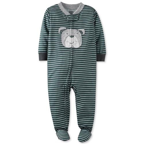 Carter'S Baby Boys 1 Pc Snug Fit Footed Pajamas (Stripe/Bulldog) (18 Months) front-284011