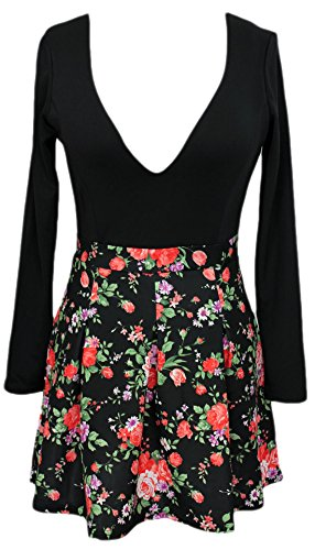 erdbeerloft - Damen Mini Kleid/Skater-Dress, Rock mit großem Blumenduck, 38, Schwarz