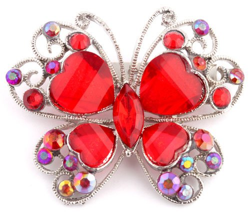 Ladies Red and Silver Butterfly Brooch & Pin Pendant with Stones
