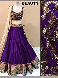 Khazanakart women purple cotton bollywood style designer lehenga