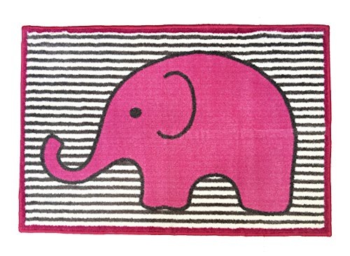 Bacati - Elephants Pink/grey Rug