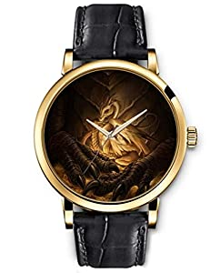 SPRAWL Classic Analog Round Face Genuine Black Leather Gold Watches Present for Women Fun Design --- Protected Dragon Baby Watch by SPRAWL