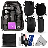 Essential Protection Kit for DSLR Cameras (Canon Nikon Sony Pentax) - Includes: Backpack + Altura Photo Lens Pouch Set + Filter Pouch + Altura Photo Cleaning Kit + MagicFiber Microfiber Lens Cleaning Cloth