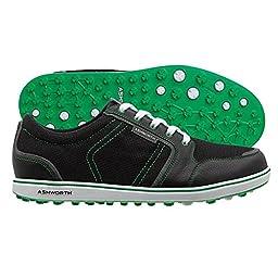 Ashworth Cardiff ADC Leather Spikeless Golf Shoes - 13 Medium Black/Green