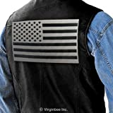 USA FLAG LIGHT REFLECTIVE AMERICAN JACKET VEST EMBROIDERED PATCH SIZE L by NYC Leather Factory Outlet