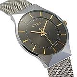 [ユリウス]JULIUS JA-577MC メンズ 腕時計 ブラック 超薄型 文字盤 シルバー ステンレス 日本製クオーツ 3気圧防水 ファッション 男性 ウォッチ