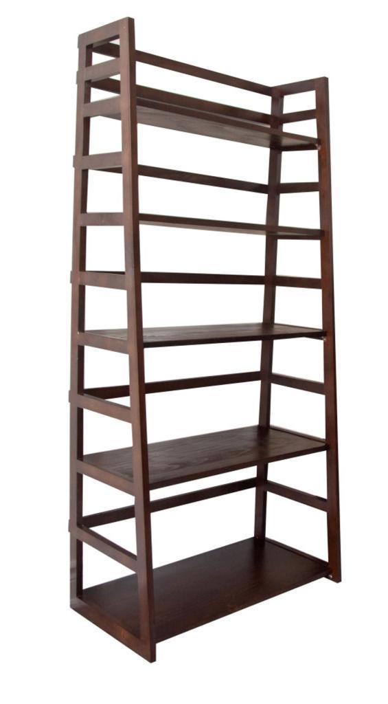 simpli home acadian ladder shelf bookcase. Black Bedroom Furniture Sets. Home Design Ideas