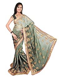 Sonaria Saree Presents Willow Green Chiffon Saree With Golden Border & Embroidery, With Pink Pipein