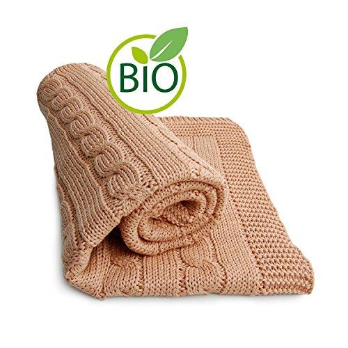 SonnenStrick 100% Organic Cotton Baby Blanket (Plait) Made in Germany Mocha