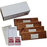 Double Deck Pinochle Card Holder Gift Set: Includes 4 Wooden Card Holders, 2 Decks Bicycle Pinochle Cards, Quick Reference Card and Score Pad