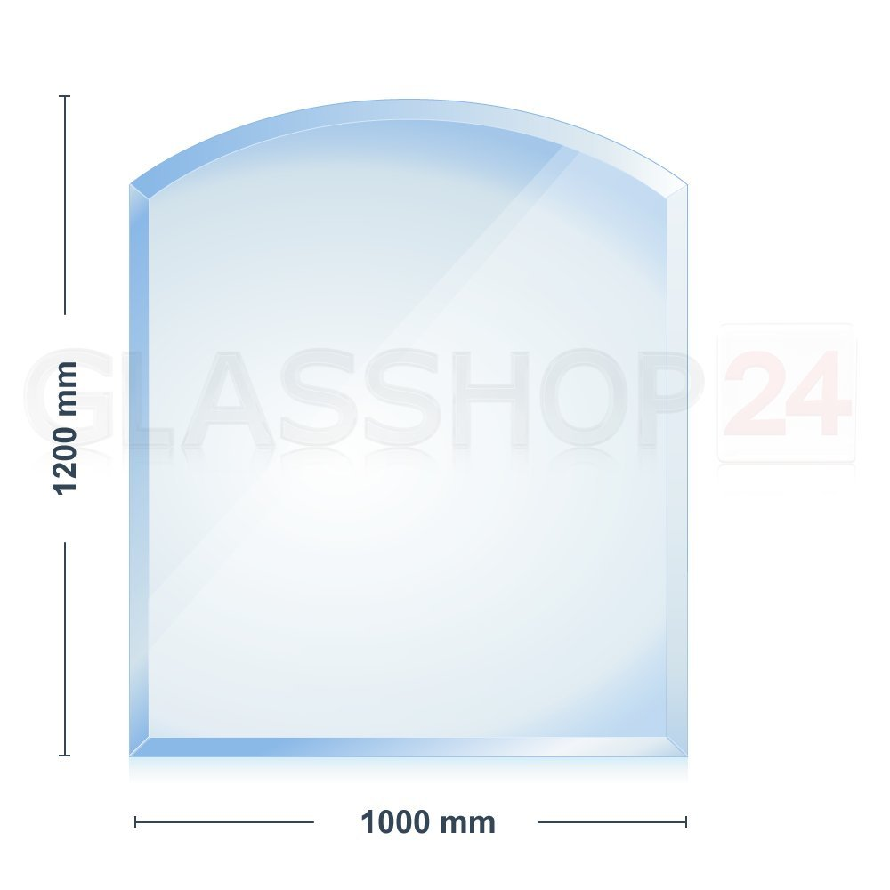 8mm Kamin Glasbodenplatte  Segmentbogen 1200x1000x8mm 18mm Facette   Rezension
