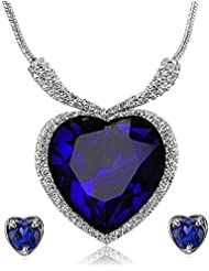 YouBella Titanic Heart Of The Ocean Crystal Zircon Jewellery Necklace Set / Pendant Set With Earrings For Girls...