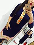 Kesu-Fahion-Womens-Embroidered-semi-stitched-Selfie-Kurti-In-Georgette-Fabric-KUKRT1003Free-SizeBlue