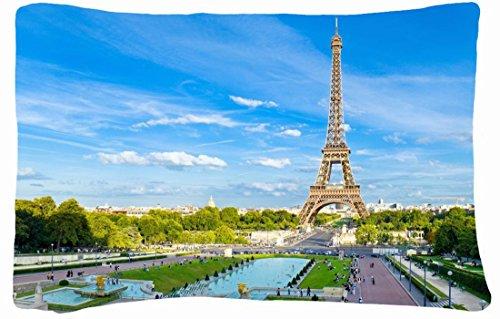 Microfiber Peach Queen Size Decorative Pillowcase -Cities Travel Torre Eiffel Paris front-859018