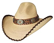 "7 3/8 ""Golden Dawn"" 20X Shapeable Palm Leaf Western Hat with Gus Crown"