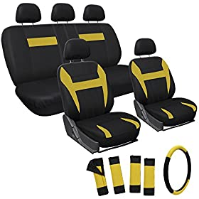 OxGord 17pc Set Flat Cloth Mesh / Yellow & Black Auto Seat Covers Set - Airbag Compatible - Front Low Back Buckets - 50/50 or 60/40 Rear Split Bench - 5 Head Rests - Universal Fit for Car, Truck, Suv, or Van - FREE Steering Wheel Cover