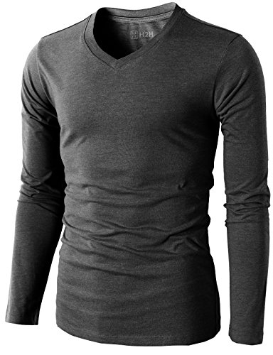 H2H Mens Casual Slim Fit Long Sleeve V-neck T-Shirts Of Various Colors CHARCOAL US M/Asia L (KMTTL0374) (H And M Clothing Men compare prices)