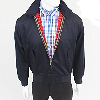 Warrior Classic Navy Harrington Jacket with Red Tartan Lining - ALL SIZES (Large (40 - 42 inch chest))