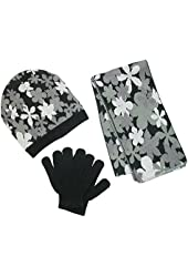 CTM® Girls Age 4-6 Flower Print Hat Glove and Scarf Winter Set