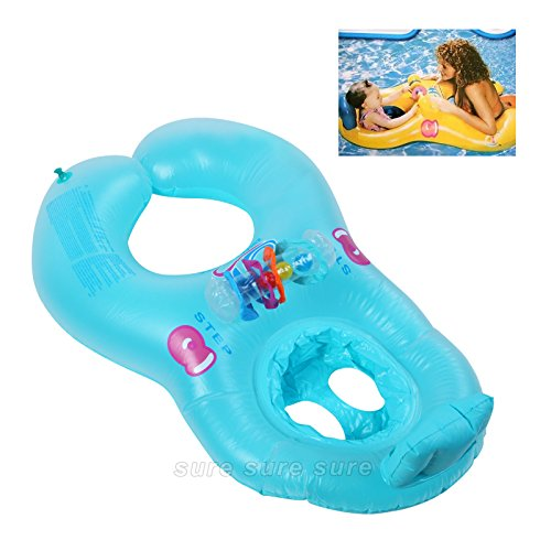 New Shop Inflatable Swimming Pool Ring Mother & Baby Swim Float Kid'S Chair Seat Blue front-780384